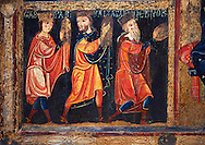 Detail from the twelfth century Romanesque Altar Front of Avia depicting the Magi or Three Kings from the Nativity, from the church of Santa Maria d'Avia, Spain. National Art Museum of Catalonia, Barcelona. MNAC 15784 ..<br /> <br /> If you prefer you can also buy from our ALAMY PHOTO LIBRARY  Collection visit : https://www.alamy.com/portfolio/paul-williams-funkystock/romanesque-art-antiquities.html<br /> Type -     MNAC     - into the LOWER SEARCH WITHIN GALLERY box. Refine search by adding background colour, place, subject etc<br /> <br /> Visit our ROMANESQUE ART PHOTO COLLECTION for more   photos  to download or buy as prints https://funkystock.photoshelter.com/gallery-collection/Medieval-Romanesque-Art-Antiquities-Historic-Sites-Pictures-Images-of/C0000uYGQT94tY_Y