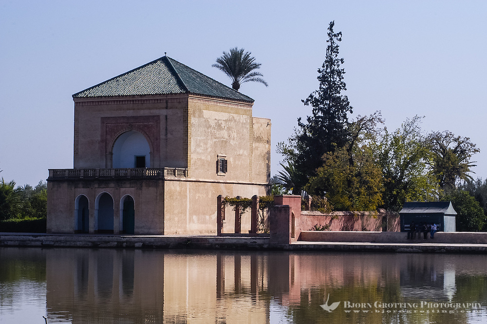 Morocco, Marrakesh. Pavillion at the Menara gardens located to the west of Marrakesh.