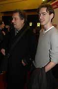 """Stephen Frears and his son  Frankie Frears. UK Premiere of """"A Cock And Bull Story"""" at Cineworld Cinemas, Haymarket  AND AFTERWARDS AT SOHO HOUSE.  The film by director Michael Winterbottom is a literary adaptation of """"The Life And Opinions Of Tristram Shandy, GENTLEMAN. 16 January 2006. Gentleman ONE TIME USE ONLY - DO NOT ARCHIVE  © Copyright Photograph by Dafydd Jones 66 Stockwell Park Rd. London SW9 0DA Tel 020 7733 0108 www.dafjones.com"""