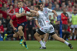 October 20, 2018 - Limerick, Ireland - Andrew Conway of Munster tackled by Matt Banahan of Gloucester during the Heineken Champions Cup match between Munster Rugby and Gloucester Rugby at Thomond Park in Limerick, Ireland on October 20, 2018  (Credit Image: © Andrew Surma/NurPhoto via ZUMA Press)
