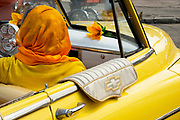 Vintage cars, Yank Tanks, as they are called line the streets of Old Havana, Cuba as taxis Cuba