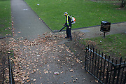 Aerial view of a council workman blows dead autumn leaves from a public park in central London.