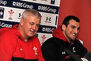 Wales coach Warren Gatland and capt Sam Warburton ® at press conference at team headquarters . Wales rugby team training at the Millennium stadium in Cardiff on Friday 10th Feb 2012.  pic by Andrew Orchard, Andrew Orchard sports photography,
