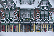 USA, Newport, RI 2004 - The morning after the Blizzard of 2004. Snow is jammed in every corner of the Travers block building on Bellevue Avenue.