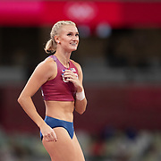 TOKYO, JAPAN:  August 5:    Katie Nageotte of the United States reacts after going clear during her gold medal performance in the pole vault final for women during the Track and Field competition at the Olympic Stadium  at the Tokyo 2020 Summer Olympic Games on August 5, 2021 in Tokyo, Japan. (Photo by Tim Clayton/Corbis via Getty Images)