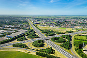 Nederland, Gelderland, Hoevelaken, 09-06-2016, knooppunt Hoevelaken, kruising Rijksweg A28 en de A1. Foto richting Hoofladervee, Vathorst. Bij het verkeersknooppunt is een file aan het ontstaan.<br /> The beginning of traffic jam at junction Hoevelaken.<br /> aerial photo (additional fee required);<br /> copyright foto/photo Siebe Swart