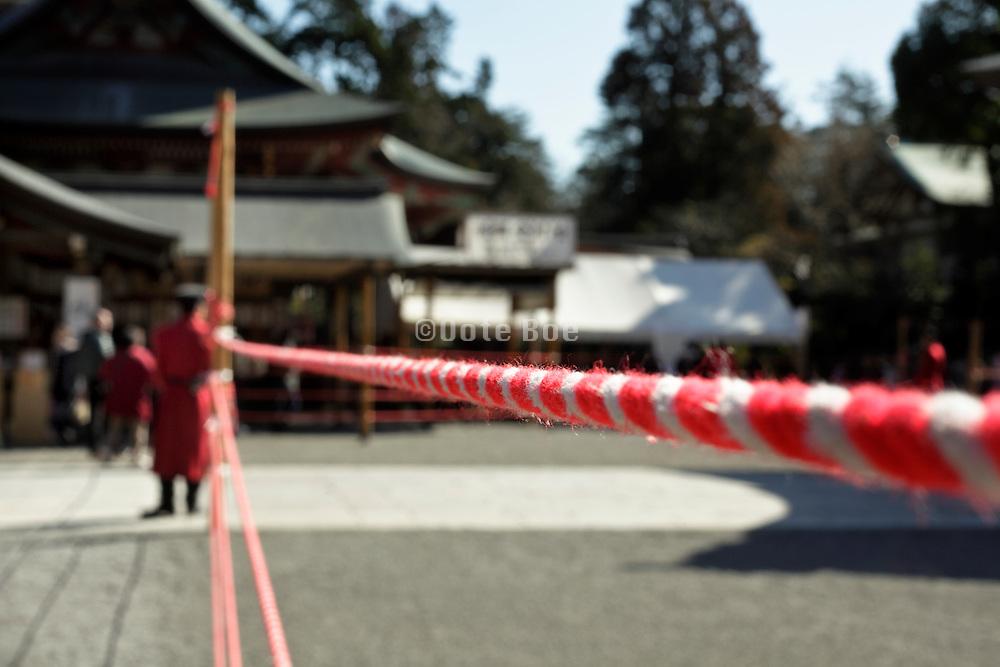 preparations for a ceremony at the Tsurugaoka Hachimangu shinto shrine in Kamakura Japan