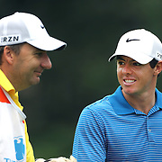 Rory McIlroy and his caddie caddie JP Fitzgerald during the ProAm at The Barclays Golf Tournament at The Ridgewood Country Club, Paramus, New Jersey, USA. USA. 20th August 2014. Photo Tim Clayton