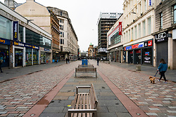 Glasgow, Scotland, UK. 12 March 2021. On the day Covid-19 lockdown is relaxed slightly in Scotland the city centre streets in Glasgow city centre remain almost deserted virtually all shops ad cafes are still closed. Pic;  Argyle Street is almost deserted. Iain Masterton/Alamy Live News