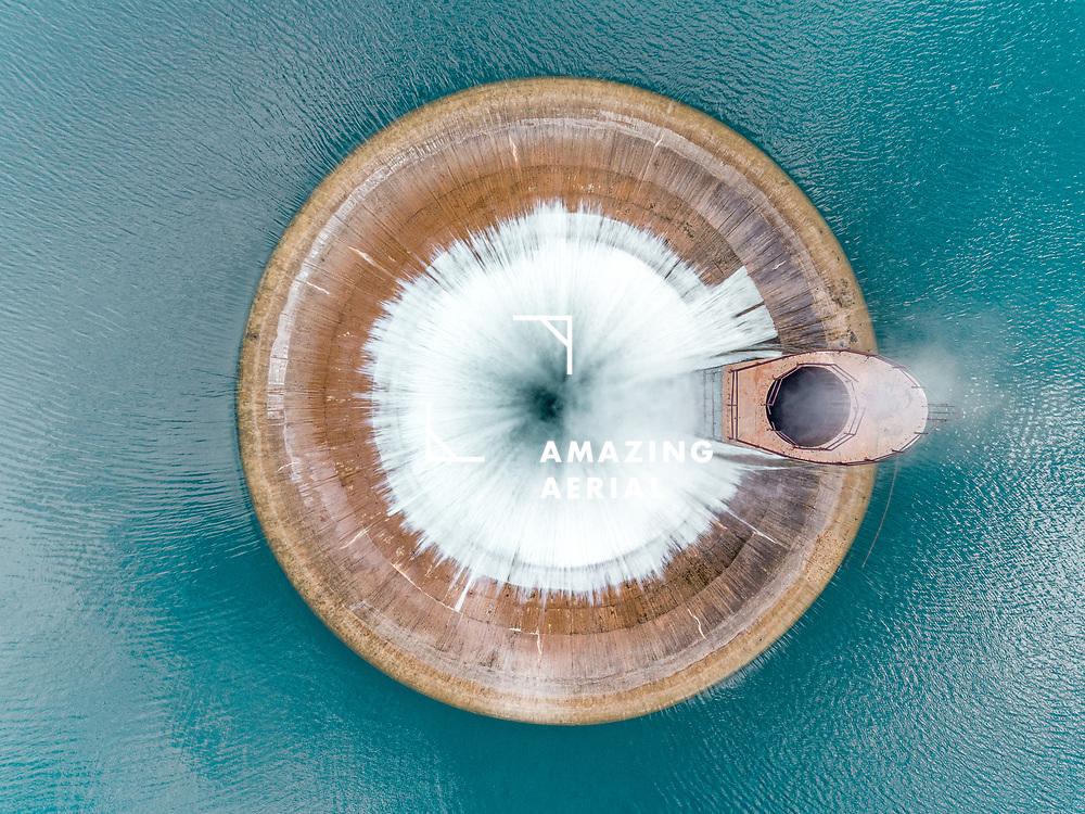 Aerial view of Hydroelectric plant on Qaraoun Lake, West Bekaa, Lebanon.