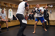 DALLAS, TX - MAY 13:  Dustin Poirier warms up in the locker room before fighting Eddie Alvarez during UFC 211 at the American Airlines Center on May 13, 2017 in Dallas, Texas. (Photo by Cooper Neill/Zuffa LLC/Zuffa LLC via Getty Images) *** Local Caption *** Dustin Poirier