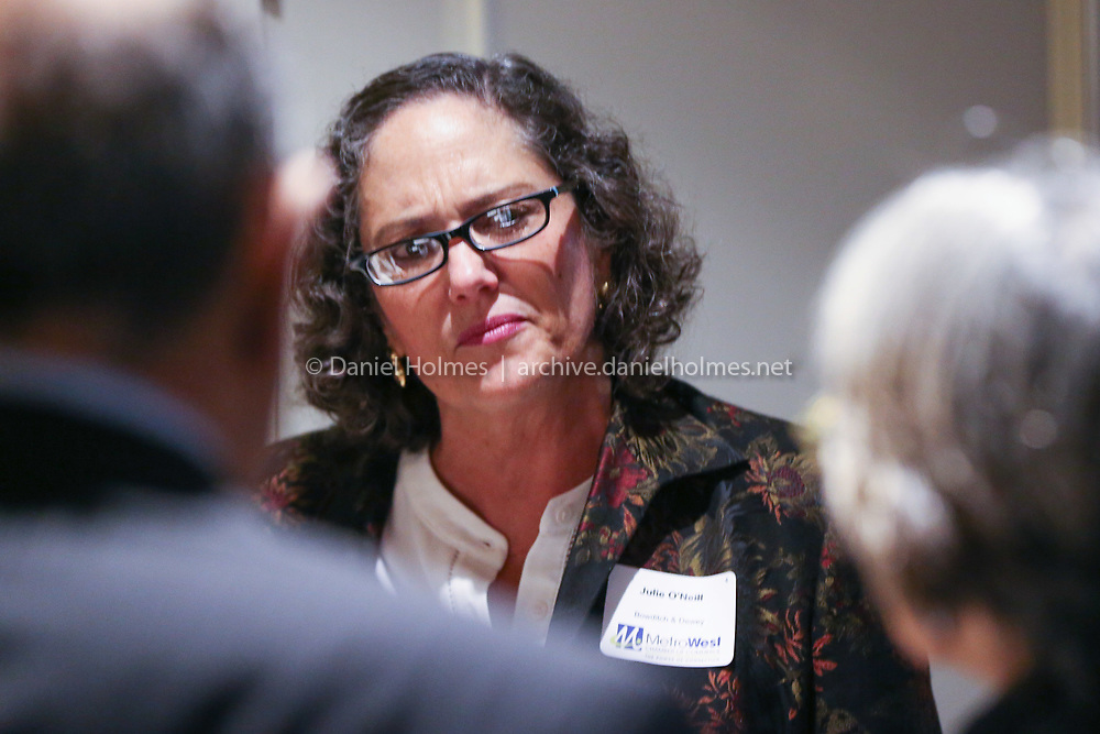(11/7/19, FRAMINGHAM, MA) Julia O'Neill, of Bowditch & Dewey, socializes during the MetroWest Chamber of Commerce annual meeting at the Framingham Sheraton Hotel on Thursday. [Daily News and Wicked Local Photo/Dan Holmes]