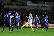 Swansea city's Jonjo Shelvey © tries to go past Everton's Phil Jagielka (6) and Gareth Barry. Barclays Premier league, Swansea city v Everton at the Liberty Stadium in Swansea,  South Wales on Sunday 22nd Dec 2013. pic by Andrew Orchard, Andrew Orchard sports photography.