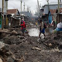 A street scene in Mukuru Kwa Njenga, Nairobi.