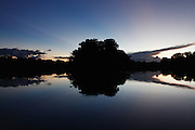 Dusk from a Cocha on the Samaria River.<br /> Deep in the Pacaya Samaria national reserve lakes known as Cochas are found attached to the side of the Samaria River. These Cochas are home to an abundance of Amazonian wildlife.