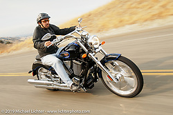 Cory Ness riding his Signature Victory Bike in the Livermore Hills, CA. 2004. Photograph ©2004 Michael Lichter