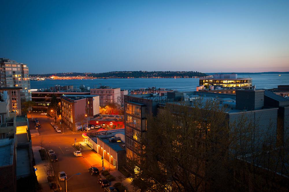 2013 April 22 - Elliott Bay view at dusk in Lower Queen Anne, Seattle, WA. By Richard Walker