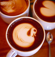 a swan creatively poured into the foam of a cappuccino at the Urth Cafe on Melrose in Los Angeles, California