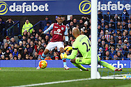 Jordan Ayew of Aston Villa shoots at goal  but is caught offside. Barclays Premier League match, Everton v Aston Villa at Goodison Park in Liverpool on Saturday 21st November 2015.<br /> pic by Chris Stading, Andrew Orchard sports photography.