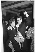 Simon Sebag-Montefiore and Geoffrey Gesetner, Pitt Club Ball, Cambridge, 13 February 1987. SUPPLIED FOR ONE-TIME USE ONLY-DO NOT ARCHIVE. © Copyright Photograph by Dafydd Jones 66 Stockwell Park Rd. London SW9 0DA Tel 020 7733 0108 www.dafjones.com