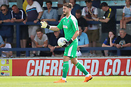 AFC Wimbledon goalkeeper Joe McDonnell (24) controlling the ball during the Pre-Season Friendly match between AFC Wimbledon and Queens Park Rangers at the Cherry Red Records Stadium, Kingston, England on 14 July 2018. Picture by Matthew Redman.