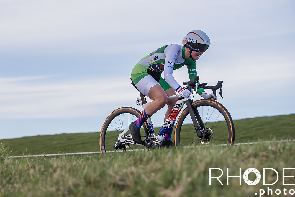 Alice Barnes (GBR/Canyon SRAM) wearing the green jersey as being leader in the points classification<br /> <br /> <br /> Healthy Ageing Tour (NED) 2021<br /> UCI Women Elite 2.1<br /> Stage 2 : Individual Time Trial (ITT) – Lauwersoog – Het Hoogeland 14.4km<br /> <br /> ©RhodePhoto