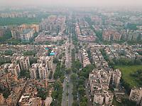 Aerial view of urban street block of Dwarka neighbourhood in New Delhi, India.