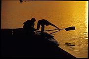 Sydney, AUSTRALIA,  Sunrise over Penrith's West Lakes venue for the 2000 Olympic Regatta. Crews Boating and training   2000 Olympic Regatta, West Lakes Penrith. NSW.  [Mandatory Credit. Peter Spurrier/Intersport Images] Sunrise, Silhouette Sydney International Regatta Centre (SIRC) 2000 Olympic Rowing Regatta00085138.tif