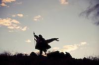 Strange Magic Silhouette. Unknown cosmic character fleeing into the darkening sky.