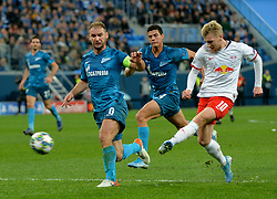 November 5, 2019, St. Petersburg, Russia: Russia. St. Petersburg. November 5, 2019. FC Zenit players Branislav Ivanovich, Jordan Osorio and FC RB Leipzig Emil Forsberg (left to right) in the UEFA Champions League group stage match between the teams Zenit (St. Petersburg, Russia) and RB Leipzig  (Credit Image: © Andrey Pronin/ZUMA Wire)