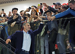 October 2, 2018 - Kiev, Ukraine - Former heavyweight boxing champion and current Mayor of Kiev VITALI KLITSCHKO greets supporters as he arrives an authographs session for supporters at the 56th World Boxing Convention in Kiev, Ukraine, on 2 October 2018.The WBC 56th congress in which take part boxing legends Evander Holyfield,Lennox Lewis, Eric Morales and about 700 participants from 160 countries runs in Kiev from from September 30 to October 5. (Credit Image: © Serg Glovny/ZUMA Wire)