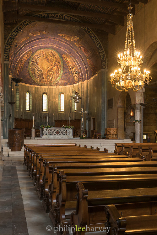 Interior of Trieste Cathedral, dedicated to Saint Justus - Roman Catholic cathedral and main church of Trieste, Italy