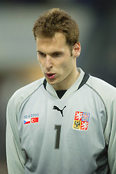 TEPLICE, CZECH REPUBLIC - Wednesday, April 30, 2003: Czech Republic goalkeeper Petr Cech pictured before a friendly match against Turkey at the Teplice Stadion Na Stinadlech. (Pic by David Rawcliffe/Propaganda)