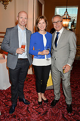 Left to right, MATT DAWSON, FIONA BRUCE and JOHN ZAMMETT at the Audi Ballet Evening at The Royal Opera House, Covent Garden, London on 23rd April 2015.