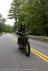 Todd Cameron riding his 1917 Harley-Davidson Model J in the Motorcycle Cannonball coast to coast vintage run. Stage-1 (145-miles) from Portland, Maine to Keene, NH. Saturday September 8, 2018. Photography ©2018 Michael Lichter.