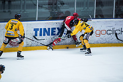 SVETINA Erik vs Raphael Andergassen during Alps Hockey League match between HC Pustertal and HDD SIJ Jesenice, on April 3, 2019 in Ice Arena Podmezakla, Jesenice, Slovenia. Photo by Peter Podobnik / Sportida
