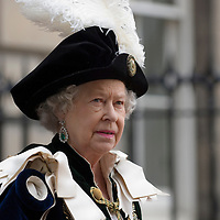HRH Queen Elizabeth II wearing the elaborate costume of the Scottish Order of the Thistle<br />