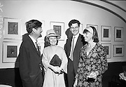 26/07/1967<br /> 07/26/1967<br /> 26 July 1967<br /> Opening of exhibition of paintings by Asgeir Scott at Brown Thomas, Grafton Street, Dublin. London born Scott, designer, illustrator, commercial artist and fashion artist came to Ireland in 1965. Here he devoted himself to a contemporary approach to the visual arts and produced a series of pictures. This collection was displayed in the Social and Personal Restaurant, Brown Thomas Ltd., Grafton Street and the opening was performed by Mr. Ulick O'Connor. Pictured at the opening were (l-r): Mr. Asgeir Scott; Mrs Edith Flood, (Leeson Street); Mr. Norman Flood, (Leeson Street) and Mrs Lea O'Brien, Kilgobbin, Co. Dublin.