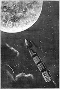 Space capsule dwarfed by the disc of the Moon. From Jules Verne 'Autour de la Lune', Paris, 1865. Wood engraving.