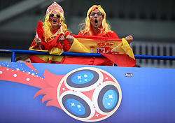 Spain fans in the stands show their support
