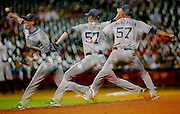 June 25, 2012; Houston, TX, USA; [Editor's note: this was taken with multiple exposures] San Diego Padres relief pitcher Luke Gregerson (57) pitches against the Houston Astros during the ninth inning at Minute Maid Park. Mandatory Credit: Thomas Campbell-US PRESSWIRE