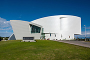 Dramatic architecture and distinctive exhibit galleries make the Museum of the North a must-see destination at the University of Alaska, in Fairbanks, Alaska, USA.