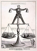 Congressional Scales - A True Balance 1850.  A satire on President Zachary Taylor's attempts to balance Southern and Northern interests on the question of slavery in 1850. Nathaniel Currier