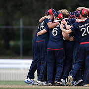 England celebrate victory at the end of the match  between England and New Zealand in the Super 6 stage of the ICC Women's World Cup Cricket tournament at Bankstown Oval, Sydney, Australia on March 14 2009, England won the match by 31 runs. Photo Tim Clayton
