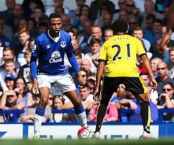 Everton's Brendan Galloway takes on Watford's Ikechi Anya  - Mandatory byline: Matt McNulty/JMP - 07966386802 - 08/08/2015 - FOOTBALL - Goodison Park -Liverpool,England - Everton v Watford - Barclays Premier League
