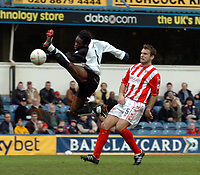 Picture: Henry Browne.<br /> Date: 04/01/2004.<br /> Fulham v Cheltenham FA Cup 3rd Round.<br /> Louis Saha of Fulham just fails to get on the end of a cross in front of Cheltenham's John Brough.