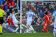 Slovakia defender David Hancko shoots towards the goal  during the UEFA European 2020 Qualifier match between Wales and Slovakia at the Cardiff City Stadium, Cardiff, Wales on 24 March 2019.