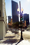 Gravier Street traffic lights in central business district, New Orleans, Louisiana, USA in 1989
