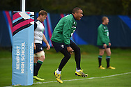 Simon Zebo of Ireland in action during the Ireland rugby team training at Newport High School in Newport , South Wales on Wed 7th October 2015.the team are preparing for their next RWC match against France this weekend.<br /> pic by  Andrew Orchard, Andrew Orchard sports photography.