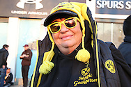 a colourful Borussia Dortmund fan outside White Hart Lane Stadium before k/o. UEFA Europa League round of 16, 2nd leg match, Tottenham Hotspur v Borussia Dortmund at White Hart Lane in London on Thursday 17th March 2016<br /> pic by John Patrick Fletcher, Andrew Orchard sports photography.